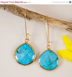 Turquoise Earrings  Bezel Set by delezhen, $74.80