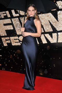 Lily James in Galvan at the 2016 BFI London Film Festival Awards.