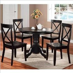 Home Styles 5178-30 Round Pedestal Dining Table, Black Finish #dining_room #furniture