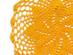 Yellow Orange hand dyed Crochet Doily Vintage oval doily