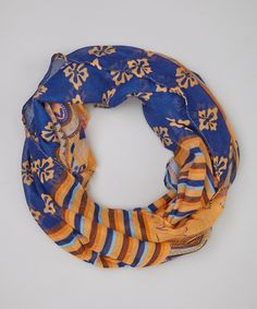 Look what I found on #zulily! Blue & Orange Stripe Paisley Infinity Scarf by DM Merchandising #zulilyfinds