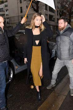 hadidfashion: Gigi in Paris Jan 22 Her booties... - TheStyleShaker.com