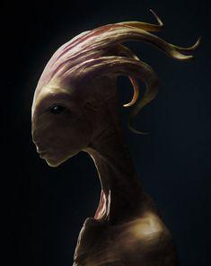 alien species Art Print by faraguay - X-Small Humanoid Creatures, Alien Creatures, Fantasy Creatures, Mythical Creatures, Creature 3d, Creature Concept, Creature Design, Arte Alien, Alien Art