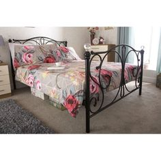 3FT 4FT CONTEMPORARY BRISTOL BLACK OR IVORY BED FRAME IN 4 SIZES 4FT6 /& 5FT