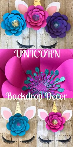 #ad Stunning backdrop decor for your little girls unicorn party. Perfect birthday party decor. Paper flower unicorn backdrop. #birthdayparty #party #partydecor #unicorn #unicornparty #birthday #backdrop #flowers