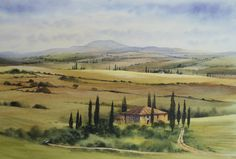 Tuscan landscape in watercolour by Geoff Kersey - this fantastic video lesson will be coming soon to ArtTutor.com