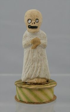 Vintage Halloween White Ghost/Zombie Composition Candy Container