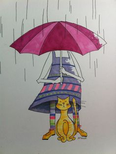 Cat and Girl in the rain under the umbrella Drawing. Silly whimsical cartoon illustration using Copic sketch Markers.  Color ink drawing by McNabb