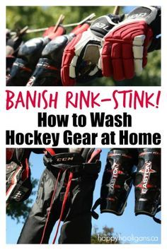 How to Wash Hockey Equipment at Home Pssst. About that stink wafting out of your kids' hockey bag.It's enough to knock you over, right? Well, today I'm gonna tell you how you can get rid of that stink by washing all of your kids gear at home in your was Goalie Gear, Lacrosse Gear, Hockey Gear, Hockey Gifts, Hockey Goalie, Hockey Players, Hockey Stuff, Sled Hockey, Youth Hockey