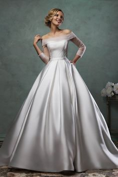 Bateau Neck Long Sheer Sleeves Simple Satin Ball Gown Wedding Dress