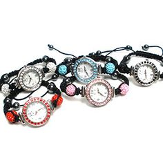 Sparkling Shamballa Bracelet Watch with Braided Cord - Assorted Colors. My amazing boyfriend bought me one for christmas in white