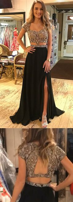 Two Piece Square Neck Cap Sleeves Black Prom Dress with Beading, modest black mermaid prom dresses with slit, unique 2 piece beaded evening dresses #beadedpromdress #prom2k18
