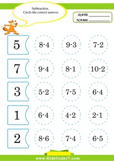 Kids Under 7: Math Worksheets