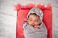 grey newborn bonnet