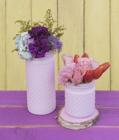 Use one color scheme or mix and match for a memorable vintage or shabby chic look! Different sizes of our pastel pink hobnail vases are sold separately.