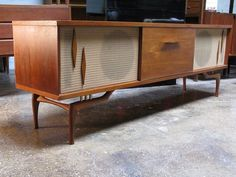 Mid Century Record Cabinet with Speakers or something similar for my living room Decor, Record Cabinet, Mid Century Console, Retro Decor, Vintage Stereo Console, Vintage Stereo Cabinet, Mid Century Modern Design, Retro Furniture, Mid Century Decor