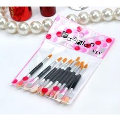 Lot of 10Pcs Double-ended Disposable Eye Shadow Applicators Lip Brush Beauty Tools by SuntekStore Online. $6.98. Double-ended Disposable Eye Shadow Applicators Lip Brush. Top quality foam boast of high density, thick and smooth. Foam head and polystyrene handle. Latex free, non-allergenic, feeling like baby skin. Specially designed for an even application. These Disposable Eye Shadow Applicators  feature a teeny-tiny figure, and convenient for carrying and storage....