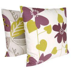 Decorative Cushion Cover Purple Pillow Cover Pillow Sham 16 x 16 inches - Nordic Bloom Aubergine. $13.50, via Etsy.