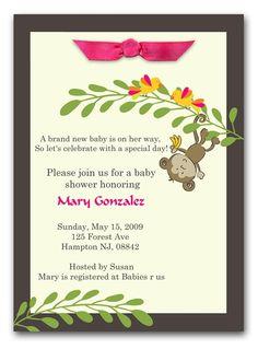Baby Monkey Baby Girl Shower Invitation