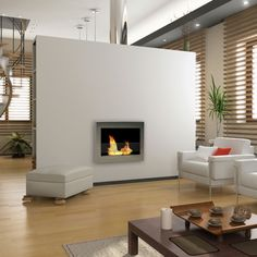 Anywhere Fireplace SoHo 90299 Wall Mounted Bio-Ethanol Fireplace features contemporary stainless steel design using eco-friendly bio-ethanol fuel.