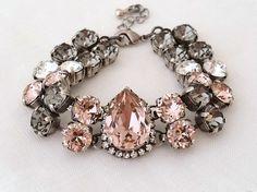 Blush wedding | Blush pink grey Swarovski crystal bracelet by EldorTinaJewelry | http://etsy.me/1Hur4PH