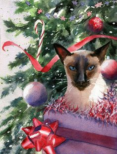 Original Watercolor Painting Siamese Cat for Christmas