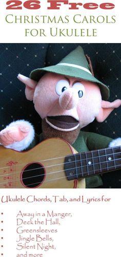 26 Christmas carols for ukulele with chord diagrams, tablature, and lyrics. View the music at ukulelechristmass...