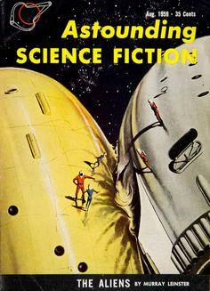1959 Cover Astounding Science Fiction Richard Van Dongen Aliens Murray YSFC3