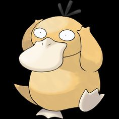 "054-Phyduck, duck Pokemon. Type-water. Ability-damp or cloud nine, swift swim, hidden ability. Height-2'07"". Weight-43.2 lbs."