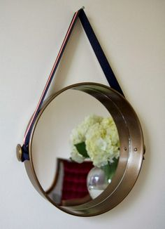 Cake Pan Hanging Mirror, Spray paint bronze? Cabinet knobs on sides?