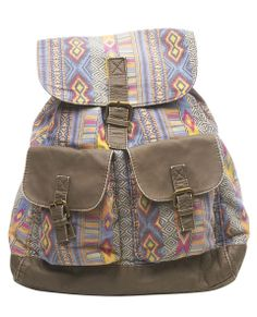 Pack style with this cute muted southwestern print backpack with faux leather trim all over, including its adjustable straps, pocket flaps, buckle strap and adjustable drawcords around the bag entrance. The exterior has two front pockets that close with a snap button detail and a top flap that folds over with two faux leather straps that dangle off and snap into place at the magnetic buttons. The backpack can also be cinched tight with the drawcords while the interior is lined and ...
