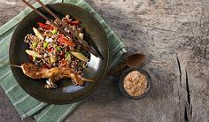 Kyllingespyd med nudelsalat og peanutdip - Diabetes