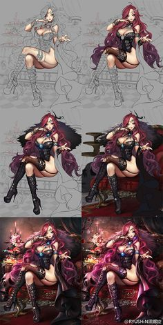 Seated Sorceress Step by Step Digital Painting Tutorials, Digital Art Tutorial, Art Tutorials, Character Concept, Character Art, Concept Art, Painting Process, Process Art, Animation