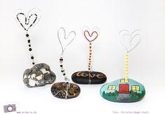 Kartenhalter aus Steinen und Draht basteln - ein DIY zum Muttertag, als Tischkartenhalter oder Bilderhalter