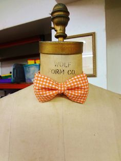 Orange Gingham Bow Tie by BowMeAwayByAlexandra on Etsy, $15.00