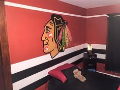 A Lucky 4 Year Old Gets To Sleep In This #Blackhawks Room!