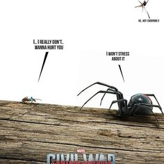 Civil War, as portrayed by their creepy crawly counterparts!! • • • Tag your friends! #NerdsUnite!! • • • #captainamericacivilwar #spiderman #deadpool #daredevil #warmachine #ironman #tonystark #captainamericacivilwar #wintersolider #captainamerica #amazingspiderman #thor #peterparker #steverogers #doctorstrange #avengers #marvel #marvelcomics #marveluniverse #cosplay #cosplayer #cosplayers #tomholland #disney #ultimatespiderman #blackpanther #chrisevans #bucky