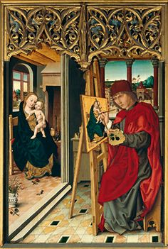 Meister des Augustiner-Altars, Der hl. Lukas malt die Madonna, 1487, 135×90 cm; Germanisches Nationalmuseum, Nürnberg