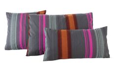 The living room pillows are Maharam DWR Pillow in Painted Stripe (Tempera)