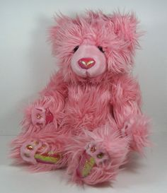 """Russ Serena Plush Pink Bear Shaggy Fur Sparkly Nose Paws 11"""" Stuffed Toy Animal #AllOccasion"""
