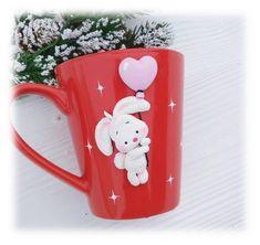 Decorated mug Bunny Unique tea cup Girl's birthday Mug decor Funny mug Children Tea party Handmade Personalized mug polymer clay funny gift Polymer Clay Figures, Polymer Clay Projects, Diy Clay, Elephant Birthday, Birthday Mug, Friend Birthday, Birthday Quotes, Birthday Gifts, Funny Mugs