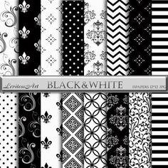 "Black&white damask digital paper:""Black white""with black white damask backgrounds for scrapbooking,invites,cards,web design,instant Download"