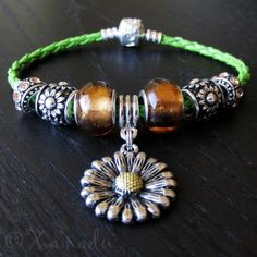 Sunflower European Charm Bracelet - Amber, Gold Beads On Green Leather Bracelet #xanadudesigns #pandora #bracelet #jewelry #fashion
