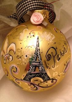 Hand Painted Ornaments by Les  Paris Eiffel Tower  by SaltyDoug, $34.95