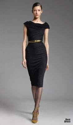 Fall / winter - work outfit - business casual - black midi dress + metallic belt + thighs