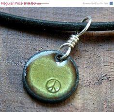 SALE Peace symbol Copper Enamel Necklace pendant by Steinvika, $17.10