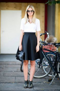 spotted in Copenhagen: H skirt, COS bag, Zara shoes, and Miu Miu sunglasses #streetstyle
