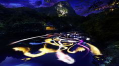 Drawing on the water surface created by the dance of koi and boats – Mifuneyama Rakuen Pond  | teamLab / チームラボ