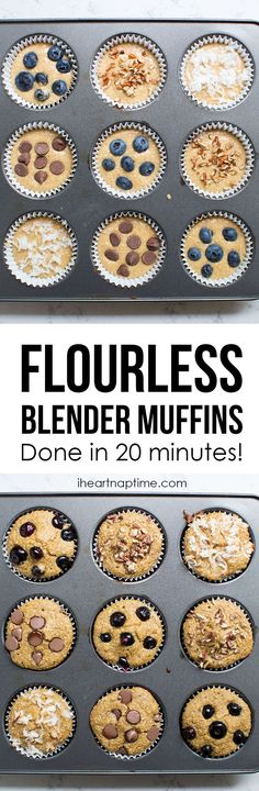 20 Minute Blender Muffins - Under 100 calories! This recipe is so easy and the muffins taste amazing!