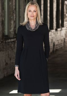 Description: Stretch jersey dress with long sleeves. Inverted pleats define th. Vicky Cristina Barcelona, The Other Boleyn Girl, Scarlett Johansson, Soho, The Dreamers, High Neck Dress, Long Sleeve, Collection, Black